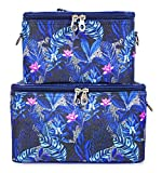 Jenzys Cosmetic Train Case Set (Floral - Blue)