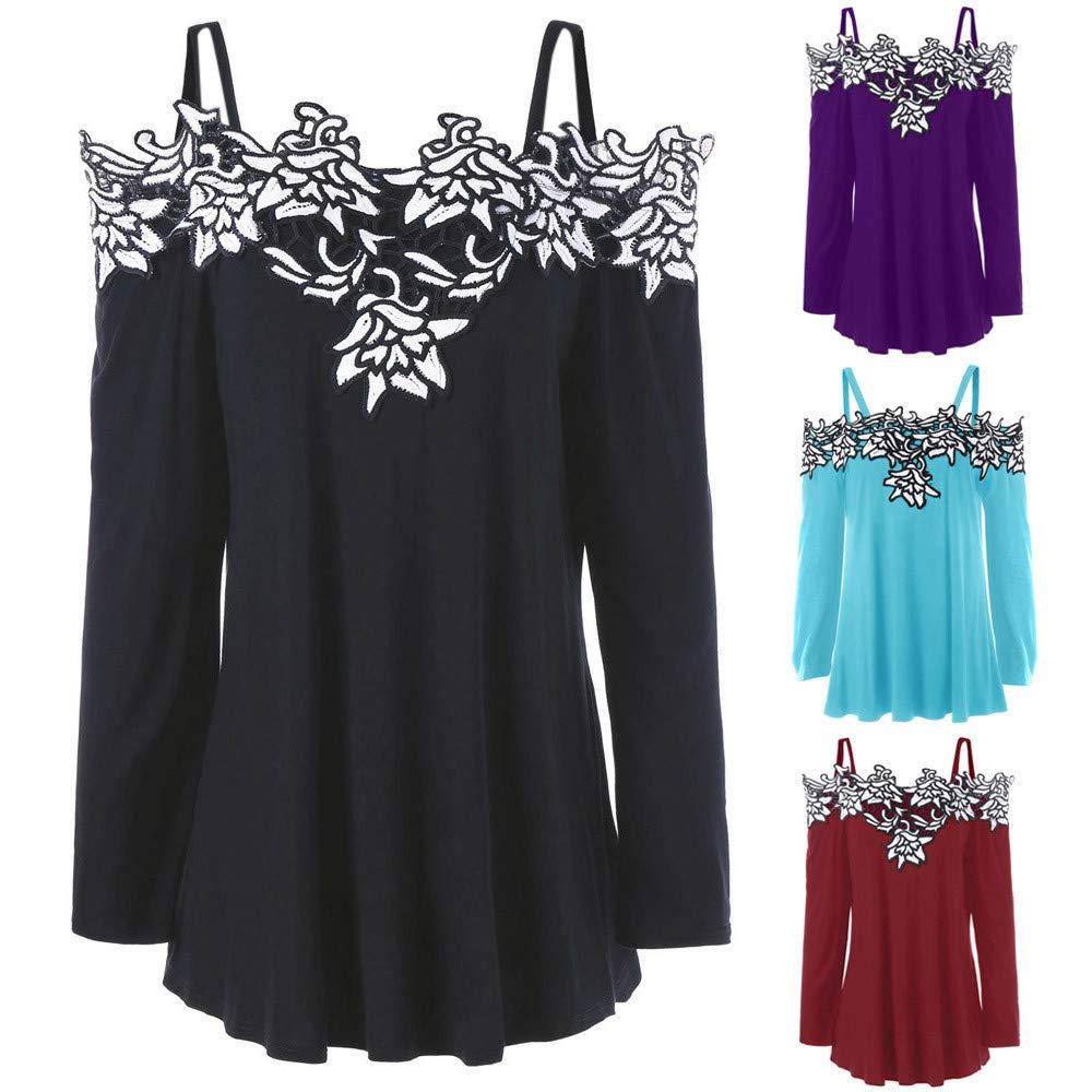 Longra ☂☂ ☂☂❤ ❤ Blusa con Hombros Descubiertos de Encaje otoñal, Blusa Sexy con Cuello alzado: Amazon.es: Ropa y accesorios