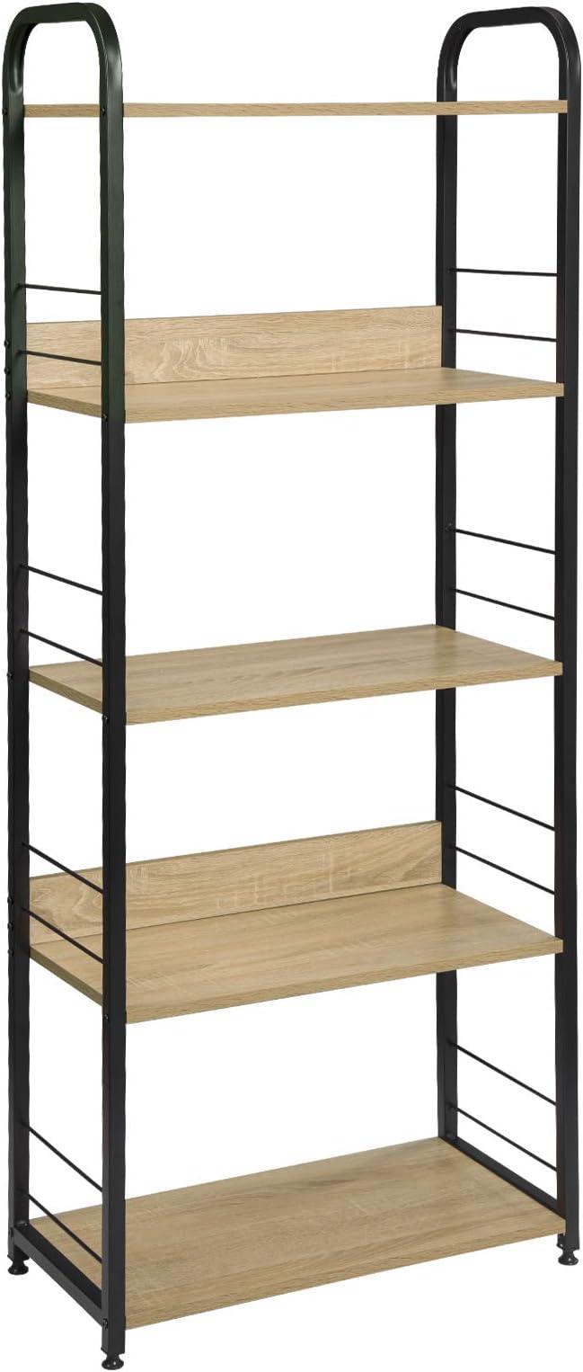 EUGAD Estante de Cocina Soporte para Microondas Estantería de Metálica Estantería con Escalera Estante de Almacenamianto MDF+ Metal 60x30x152cm, Roble Claro 0015ZWJ: Amazon.es: Hogar