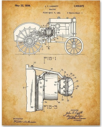 John Deere Tractor Patent - 11x14 Unframed Patent Print - Great Gift for Farmers and Country ()