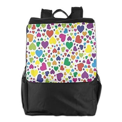 Newfood Ss Hearts Rainbow Vibrant Colors Love Honeymoon Joyful Fun Cheering Artwork Outdoor Travel Backpack Bag For Men And Women