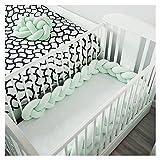 LOAOL Baby Crib Bumper Knotted Braided Plush Nursery Cradle Decor Newborn Gift Pillow Cushion Junior Bed Sleep Bumper (4 Meters, Mint)