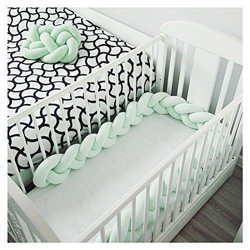 LOAOL Baby Crib Bumper Knotted Braided Plush Nursery Cradle Decor Newborn Gift Pillow Cushion Junior Bed Sleep Bumper (4 Meters, Mint) by LOAOL