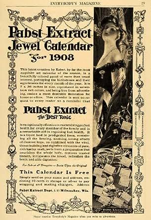 1908 Ad Pabst Extract Tonic Perfume Jewel Calendar Lady - Original Print Ad