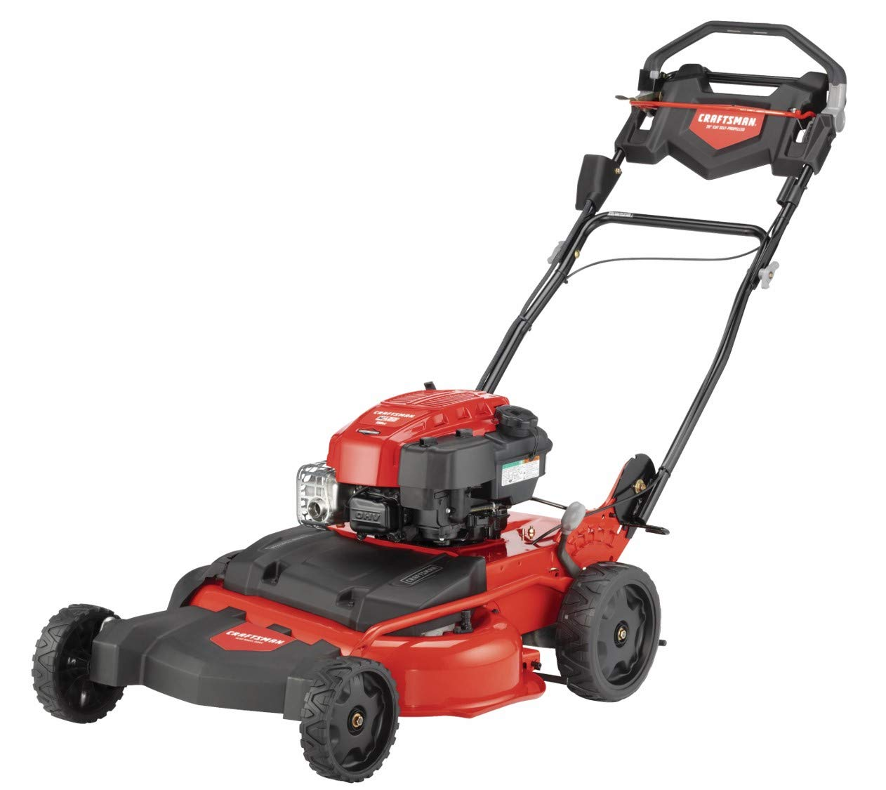 Craftsman M410 190cc Briggs & Stratton 875 Professional Series 28-Inch 2-in-1 Self-Propelled RWD Gas Powered Lawn Mower 1 POWERFUL 190CC OHV GAS ENGINE: Powerful Briggs & Stratton engine equipped with recoil and ready start-just pull to start! 2-IN-1 CAPABILITIES: Unit can mulch and side discharge. REAR WHEEL DRIVE: Provides more traction and the ability to operate over hilly terrain.