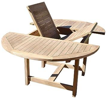 PEGANE Table de Jardin Ronde et Extensible en Bois Teck - Dim : 120 ...