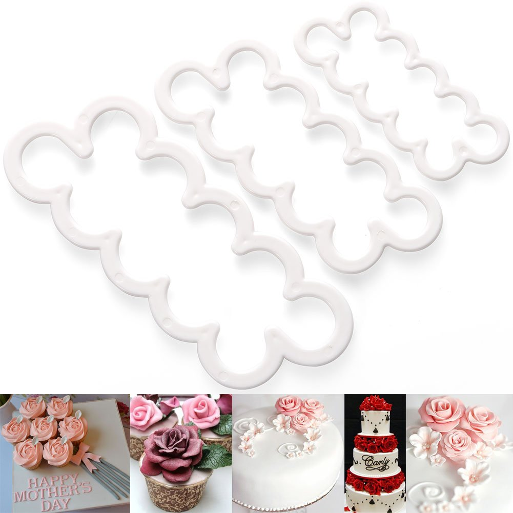 3pcs Cake Decoration Mold, DIY One-Piece Molded Fondant Roses Printing Mould Tool Set , Food Grade Cutter Modeling Tools for Christmas Party Wedding Cake in Mould Dessert Decorators Sugarcraft Sugar MODESTLUXURY