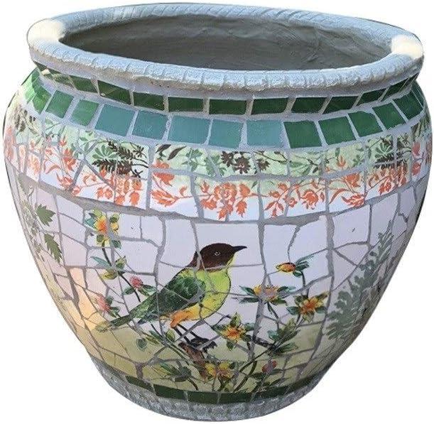 ZHKY Artistic Color Painting Landscape Pattern Planter Creative Animal Little Bird Mosaic Ceramics Outdoor Flower Pot Vintage Garden Patio Balcony Decor Plant Pot Hallway Corridor Planters