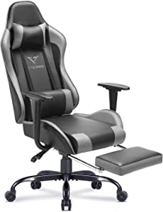 Vitesse Gaming Chair with Footrest Racing Style Computer Office Chair Adjustable Swivel Ergonomic PC Desk Bucket Seat Chair with Lumbar Support and Headrest (Grey)