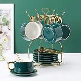 Coffee Mug Holder 6 Hook Countertop Mug Tree Cup Dryer Kitchen Tea Cups Holder Stand Organizer (Gold)