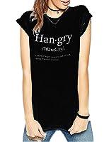 Haola Women Fashion Grey Causul Print T Shirts Summer Funny Tops