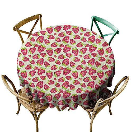 Easy Care Tablecloth Strawberry Tropical Summer Fruit Pattern Strawberry Figures with Traditional Paisley Motifs Indoor Outdoor Camping Picnic D70