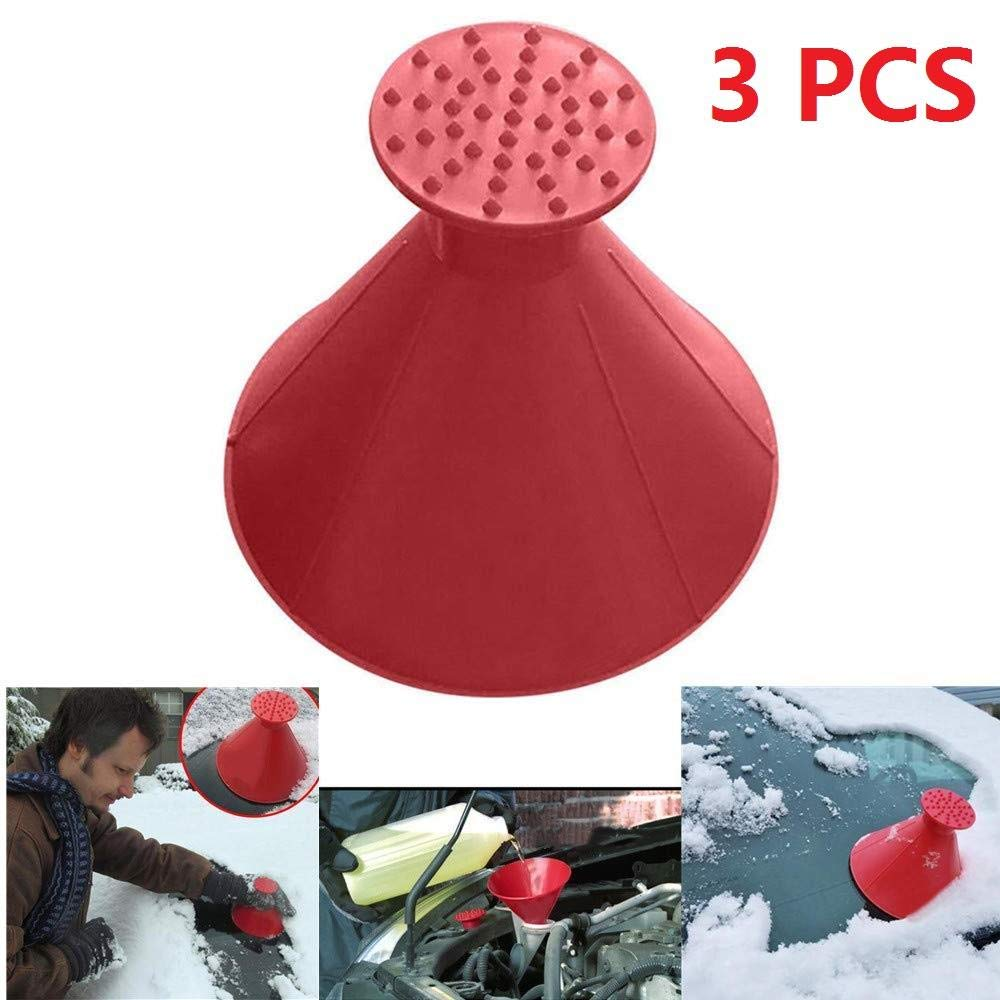 3 PCS Portable Snow Remover,Cars Ice Scraper,for Car Magical Car Windshield Ice Snow Remover Scraper Tool Cone Shaped Round Funnel