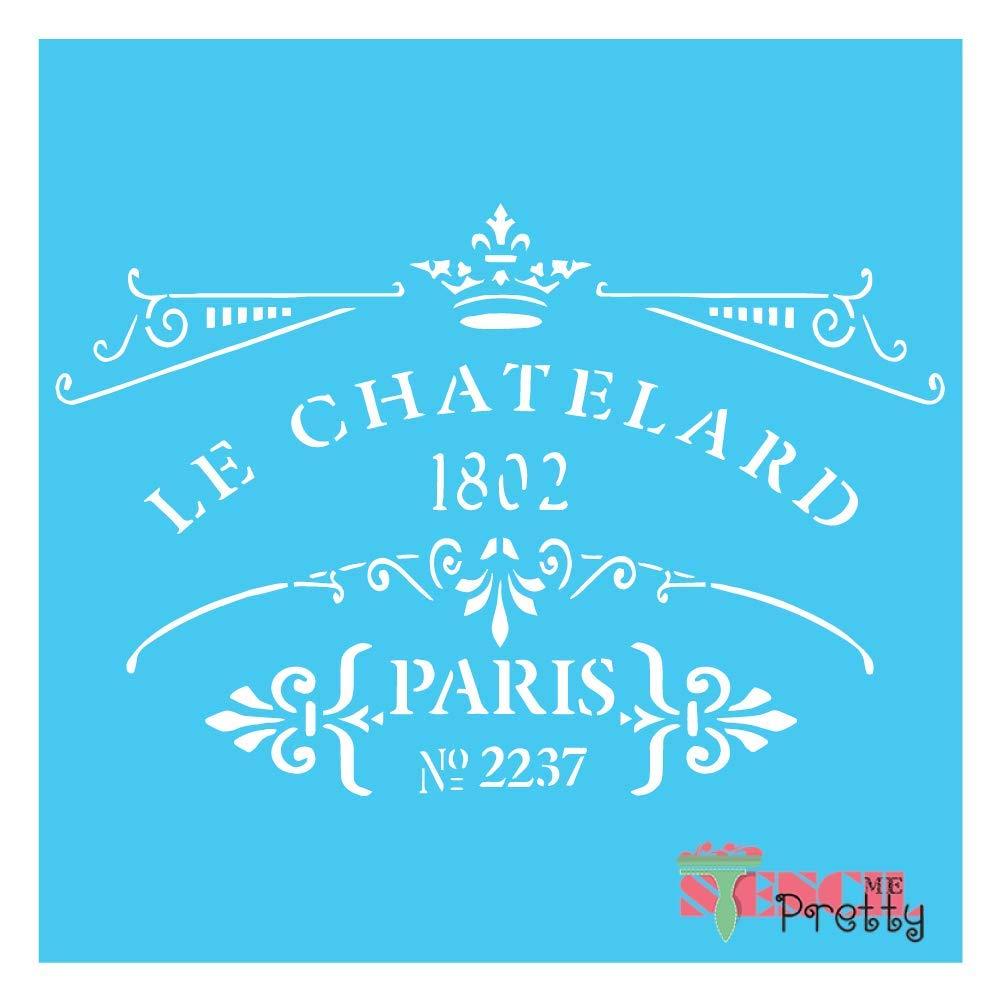 "French CHATELARD Paris Stencil - Vintage Furniture DIY Chic Decor Crafts-XS (9"" x 6"")| Standard Brilliant Blue Color Material"