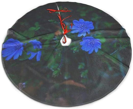 Pengyong - Falda de árbol de Navidad con pétalos de Flores Azules ...