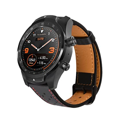 Pinhen Huawei Watch GT, 22MM W2 Pro Leather Replacement Adjustable Bracelet Strap with Ventilation Holes for Huawei Watch GT (Leather Black)