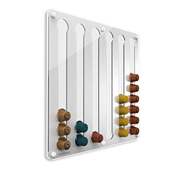 PlexiDisplays 143221 - Dispensador de cápsulas de Nespresso, color blanco