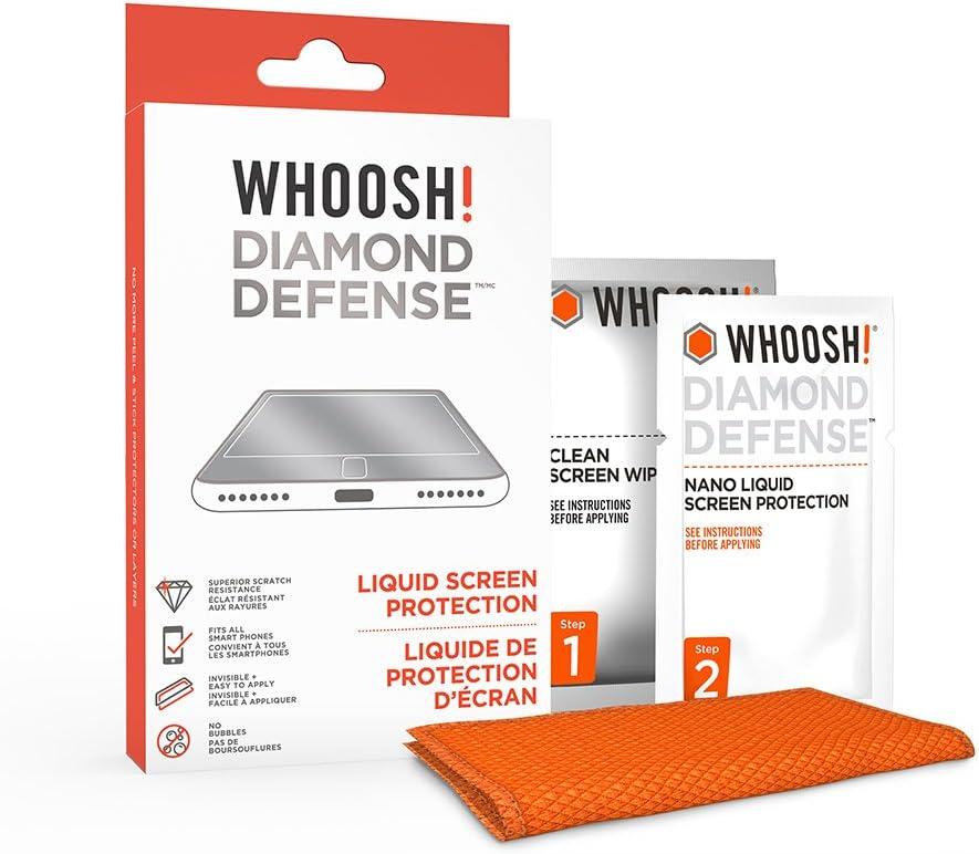 WHOOSH! Diamond Defense - Superior Nano Liquid Screen Protector Wipe, Easy Application, No Bubbles/Streaks, Hardens Glass - Fits All Screens ;Phones or Tablets