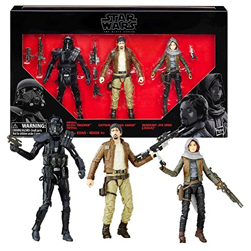 Star Wars Year 2016 The Black Series Exclusive 3 Pack 6 Inch Tall Figure Set - IMPERIAL DEATH TROOPER, CAPTAIN CASSIAN ANDOR and SERGEANT JYN ERSO (Jedha) with Blaster Guns and (Imperial Blaster Rifle)