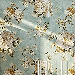 "HaokHome DR3073 Non Woven Vintage Flower Wallpaper Blue Home bedroom WallPaper 20.8"" x 393.7"""