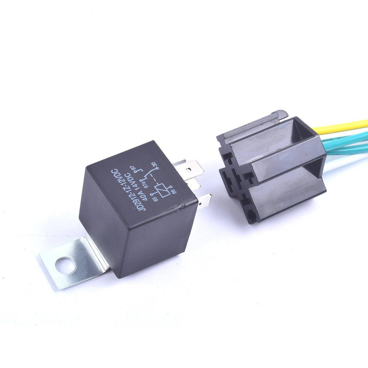 Cocar Auto Rel/é Interruptor Conmutador de Carril 5 Arn/és Precableado 12V DC Contactores SPDT 5 Pin 40Amp Cable Set de Cobre Premium JD2912 Paquete de 2