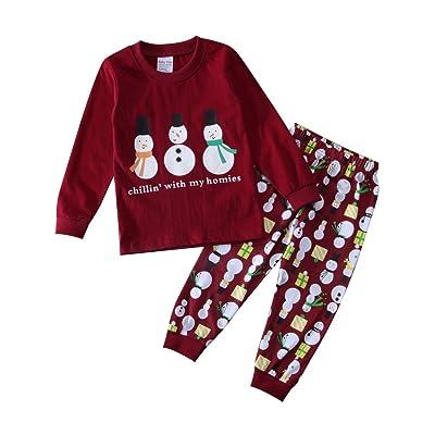 toddler kids boys girls snowman sweatshirt pants pajamas set christmas sleepwear clothes