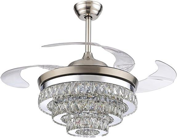 COLORLED - Ventilador de techo de cristal europeo (42 pulgadas, con cuatro aspas retráctiles, transparente y mando a distancia, lámpara de araña con luces LED): Amazon.es: Bricolaje y herramientas