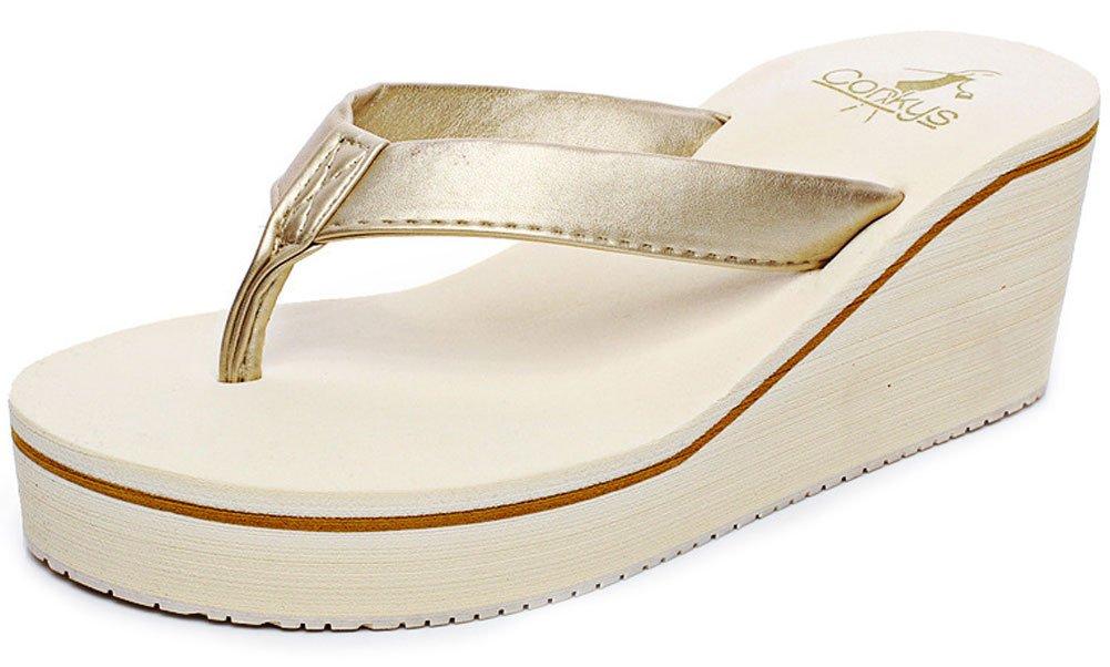 QZUnique Women's Summer Fashion Creative High Heel Flip Flops US 4-4.5