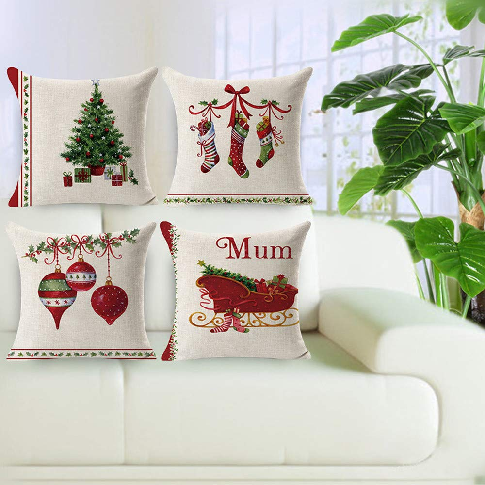 4Pcs Christmas Decorative Throw Pillow Covers Cases Outdoor Xmas Holiday Cushion 18x18 Home Decor for Sofa, Chritmas Snowman & Tree & Santa Claus (D)