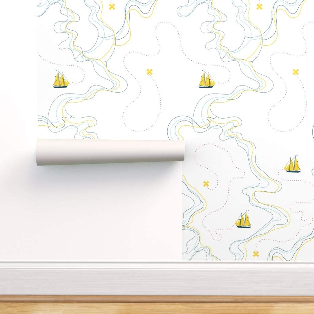 Peel-and-Stick Removable Wallpaper - White Yellow Nautical Sail Boat Sailing Ocean Cartography Waves Ship by Ravynka - 24in x 72in Woven Textured Peel-and-Stick Removable Wallpaper Roll