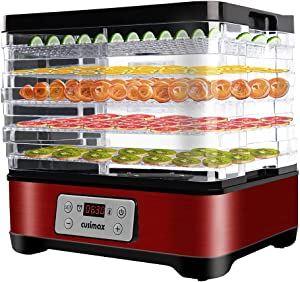 Food Dehydrator Machine, Dryer Dehydrators for Food and Jerky with Digital Time & Temperature Control, Fast Drying for Beef Jerky, Fruits, Vegetables, 5 BPA-Free Trays, Overheat Protection, Red