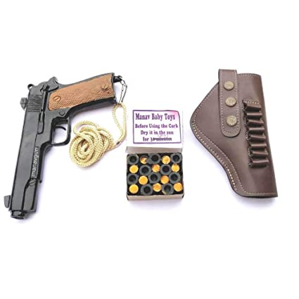 Manav Blank 9 MM Pistol to Fire Sound Corks Explosion with Holster and  Double Power Cork (Black, Medium)