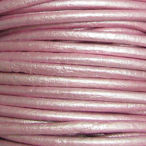 (Dreambell Natural Round Leather BEAD STRINGING CORD 1mm Metallic Pink (Suraiya) 2 Yards/Findings )