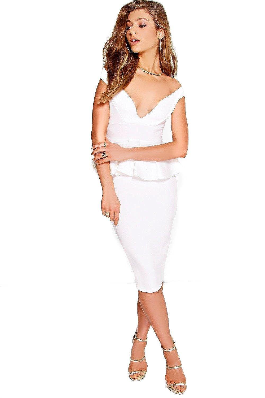 Ivory Womens Dot Sweetheart Off The Shoulder Peplum Midi Dress