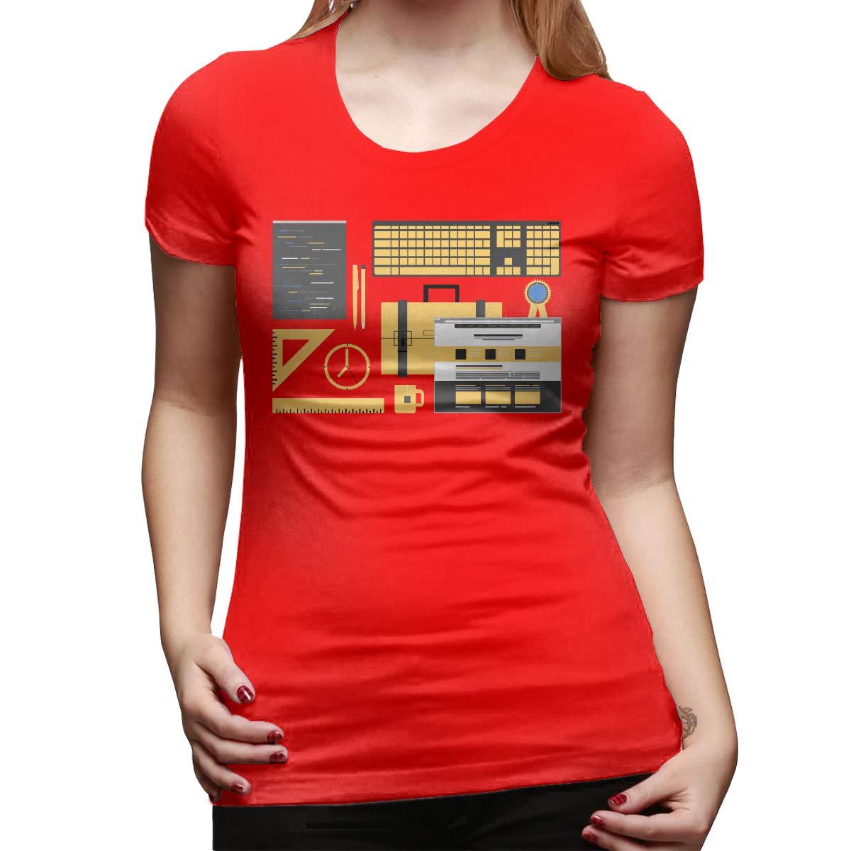 Lisa Hansen Web Design Womens Short Sleeve T Shirt Color Red Size 32