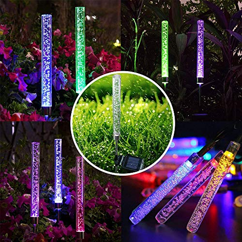 2pcs Garden Solar Stake Lights Outdoor, Waterproof Solar Tube Lights, RGB Color Changing Solar Acrylic Bubble Lights for Garden Patio Backyard Pathway Decoration