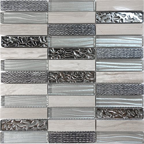 Decorative Insert Tile Flooring (Modket TDH226MO White Oak Marble Stone Blended Gray Metallic Wave Cold Spray and Deco Insert Mosaic Tile Backsplash)