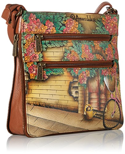 Vintage Fantasy Hand Bike Floral Expandable Painted Anuschka Travel Crossbody TcPOS01qw