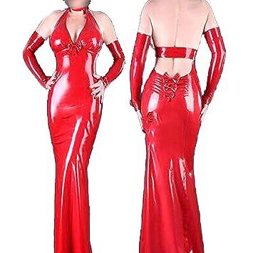 Latex goma elegante generoso rojo elegante vestido de noche ...
