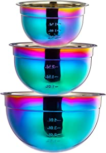 Rainbow Mixing Bowls Set 18/10 Stainless Steel 3 Piece Salad Nesting Bowl for Chef Prep Cooking, Baking, Kitchen Food Preparation, Fruit Serving Storage Colorful Multicolor Metal Bowls 1.5, 2.5, 4 L