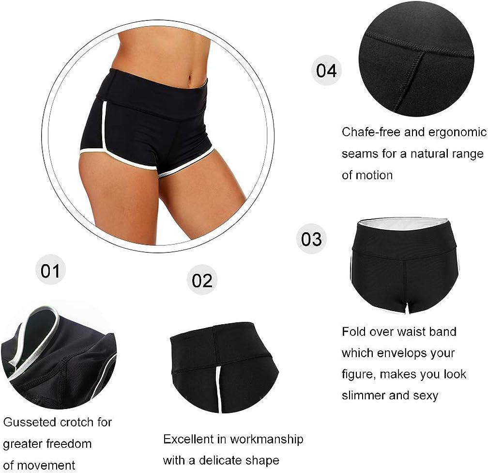 Tesuwel Womens Yoga Shorts with Pockets High Waist Stretch Tummy Control Workout Athletic Running Bike Shorts