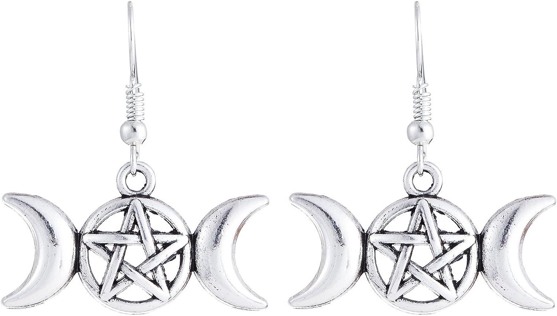 Vidrio Stud 12mm Sp pendientes Wicca Pagana * Pentagrama Estrella Negro Blanco semicirculares