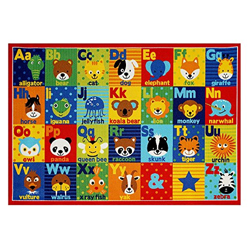 Smithsonian Rug ABC Alphabet Learning Carpets Bedding Play Mat Classroom Decorations Cute Animal Area Rugs 8x10 -