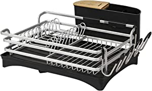 BRIAN & DANY Aluminum Dish Drying Rack,Never Rust Dish Rack with Removable Cutlery Holder &Cup Holder,Unique 360° Swivel Spout Drain Board,Silver