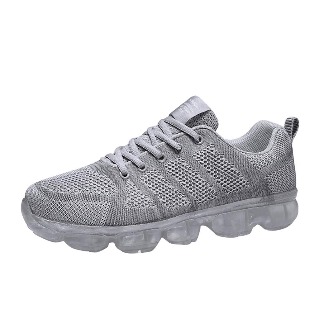 High Top Sneakers for Men ✔ Men's Fly Knit Breathable Full Air Cushion Soles Sneakers Fashion Casual Shoes Gray