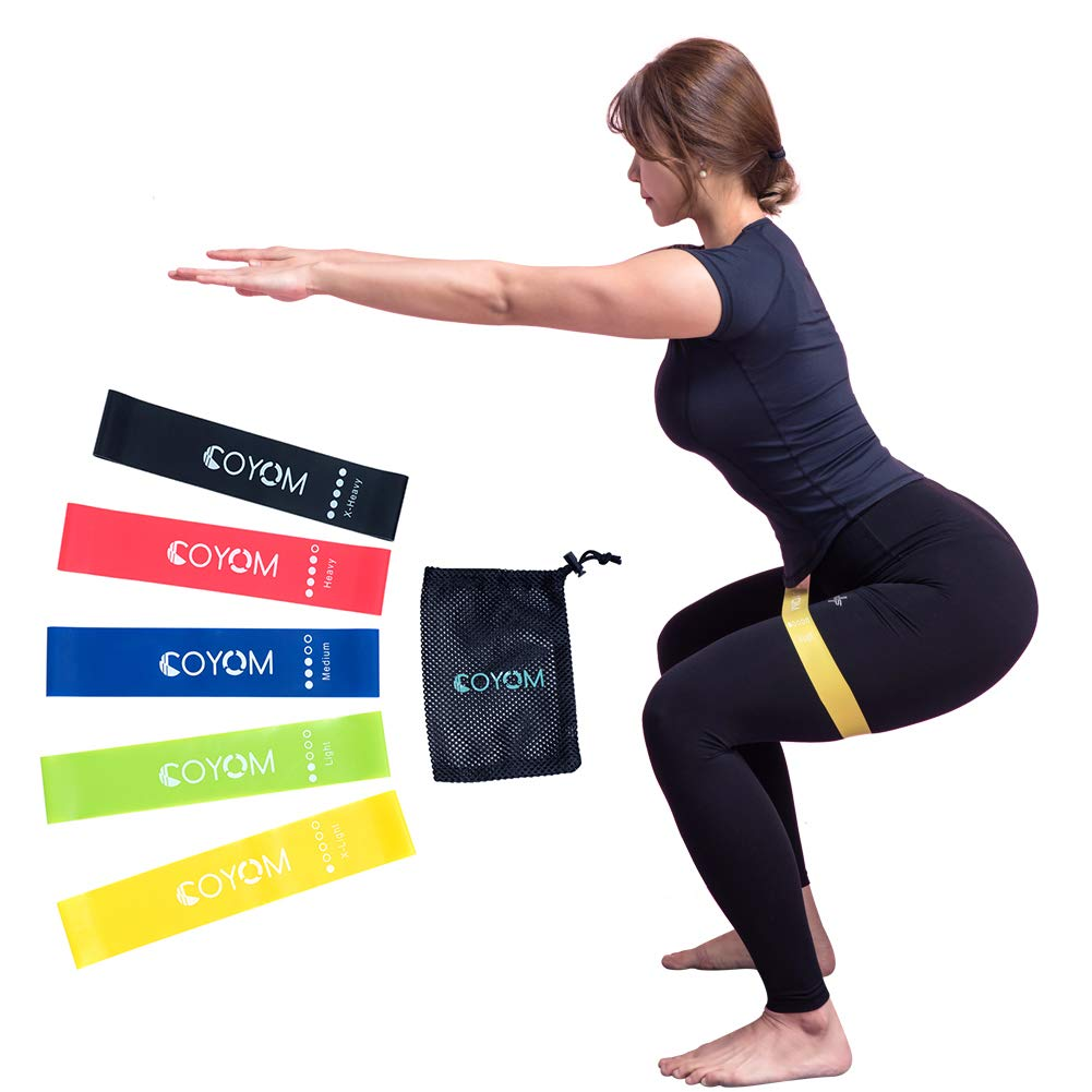 Strength Training and Physical Therapy Coyom Latex Resistance Band Booty Hip Exercise Bands for Pilates Fitness Loops for Butt and Legs