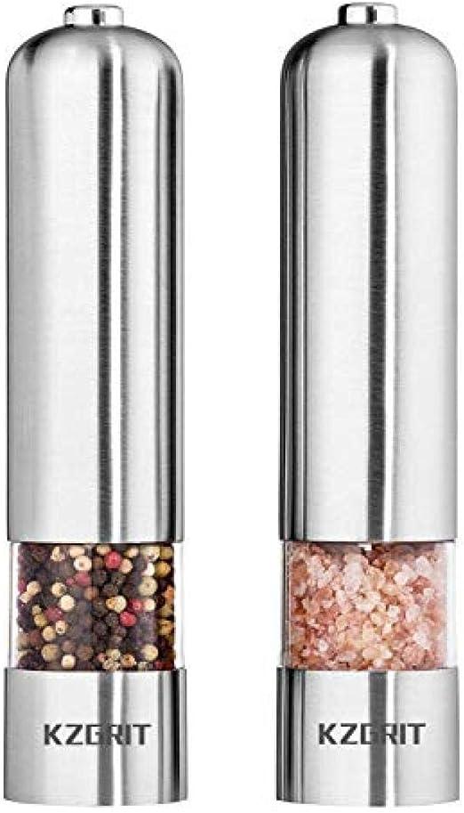 Amoladoras eléctricas automáticas de acero inoxidable Agitadores con LED Juego de molino de sal y pimiento ligero Batería Ceramic Grinding Blade 2 Pack Silver: Amazon.es: Hogar
