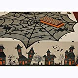 lotus.flower Halloween Spider Round Webs Indoor Party Decor Tablecloth Festive Party Supplies for Halloween Parties,Dinner Parties and Scary Movie Nights&Spooky Meals (Black)