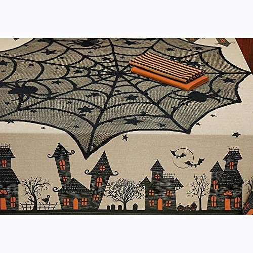 (lotus.flower Halloween Spider Round Webs Indoor Party Decor Tablecloth Festive Party Supplies for Halloween Parties,Dinner Parties and Scary Movie Nights&Spooky Meals)