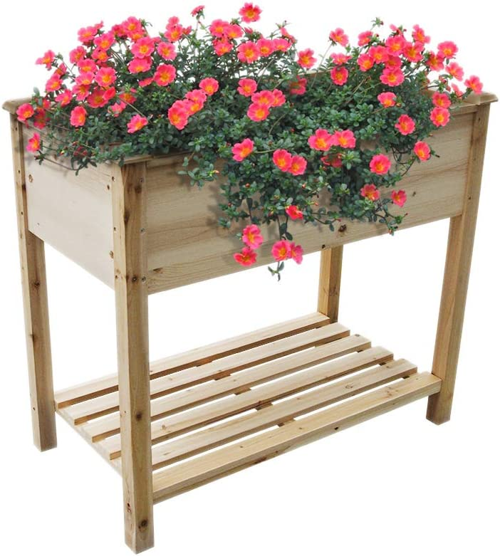 """NOYIDA Raised Garden Bed Elevated Wood Planter Box Raised Garden Planter Box with Legs for Outdoor Patio, Deck, Balcony,Comes with Premium Liner. (34"""" L x 18"""" W x 30"""" H)"""